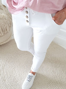 Bamboo Button Jogger in weiß