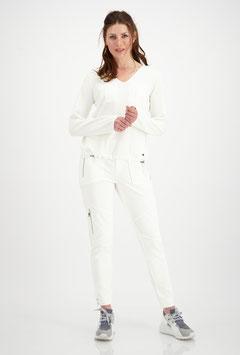 monari Strickpullover mit V-Ausschnitt in Off-White