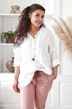 Leinenshirt Shine in white