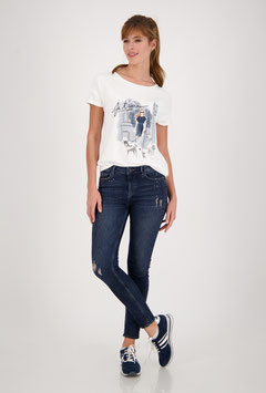 monari T-Shirt mit Rundhals und Print in off-white