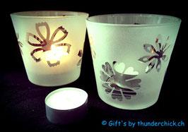 Teelichtglas Blume