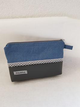 Kosmetik klein Linen blau/Antrazit