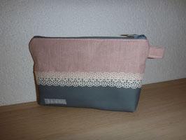 Kosmetik klein Linen rosa/grau