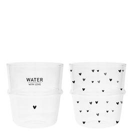 Glas Herzen oder Water