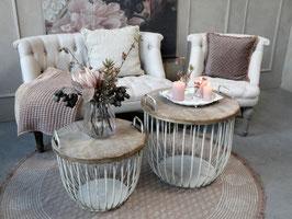 Sofa Tisch klein und gross Set weiss