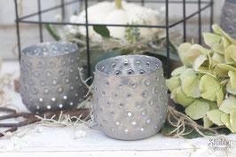 Teelicht silber grau klein