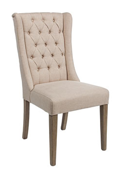 Stuhl beige hohe Lehne