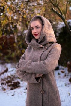 Wintermantel Wollmantel gefüttert hellbraun