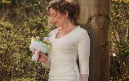 Hochzeitsbluse Wickelbluse Tüll creme