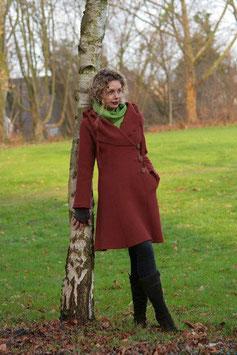 Mantel mit Kapuze gewalkte Wolle terracotta