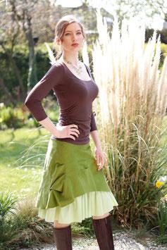 Kordrock mit Baumwollrüsche und Jerseybund grün karo