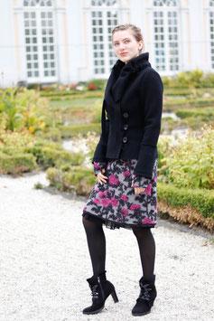 Wollrock mit Jerseybund grau mit Blumen