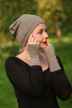 Mütze Beanie Merinowolle taupe