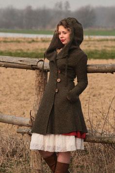 Mantel mit Kapuze gewalkte Wolle oliv meliert