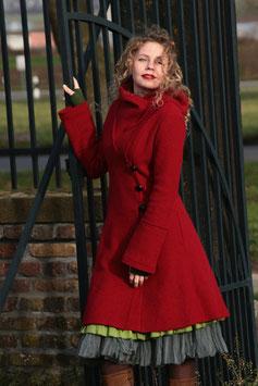 Mantel mit Kapuze gewalkte Wolle rot