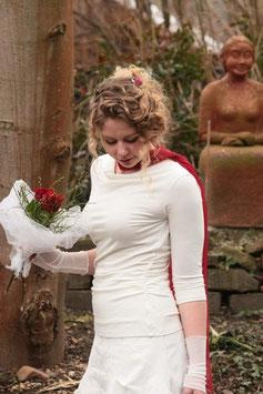 Brautshirt Jerseyshirt Wasserfallshirt gerafft wollweiß
