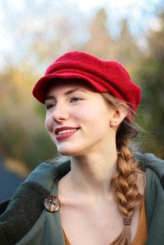 Schirmmütze Kappe aus Wolle rot