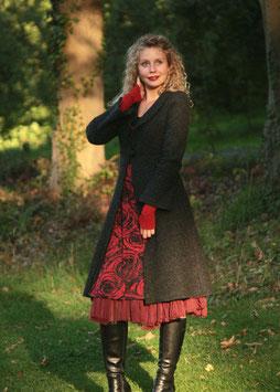 Mantel Gehrock gewalkte Wolle anthrazit