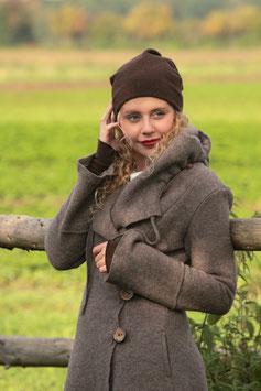 Mantel mit Kapuze gewalkte Wolle hellbraun