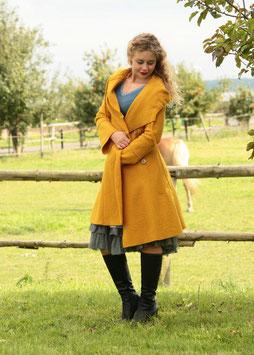 Mantel mit Kapuze gewalkte Wolle maisgelb