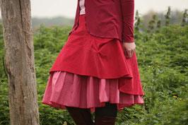 Kordrock mit Baumwollrüsche Karo und Jerseybund rot