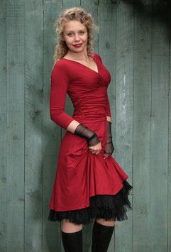 Jerseykleid Raffung dunkelrot