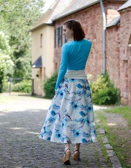 Maxirock Leinen cremeweiß mit blauen Blumen