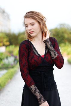 Wickelbluse Spitze schwarz