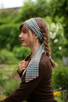 Haarband lang türkis braun Karomuster