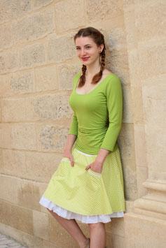 Flatterrock Baumwollrock mit Jerseybund Tupfen grün weiß