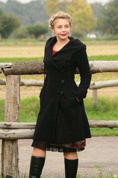 Mantel mit Kapuze gewalkte Wolle schwarz