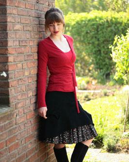 Kordrock mit Baumwollrüsche und Jerseybund schwarz