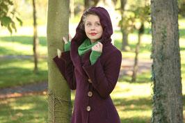 Mantel mit Kapuze gewalkte Wolle aubergine