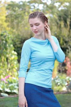 Jerseyshirt Wasserfallshirt gerafft blau
