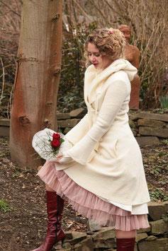 Mantel gewalkte Wolle Brautmantel creme