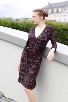 Jerseykleid Wickelkleid schwarz mit Streublumen Spitze