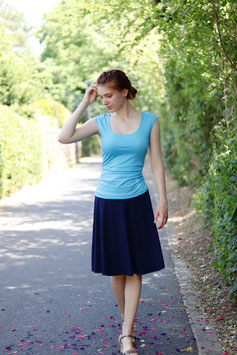 Jersey-Top mit Raffung blau
