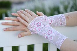 Elegante Brautstulpen Tüllspitze rosa Blumen