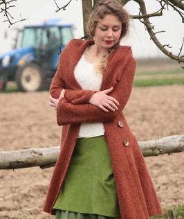 Mantel mit Kapuze gewalkte Wolle rotbraun