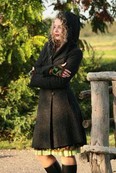 Mantel mit Kapuze gewalkte Wolle anthrazit