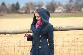 Mantel mit Kapuze gewalkte Wolle jeansblau