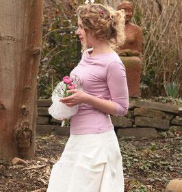Jerseyshirt Wasserfallshirt gerafft rosa altrosa
