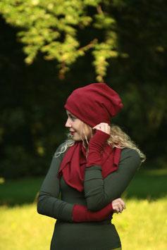 Mütze Beanie Merinowolle dunkelrot