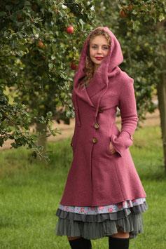 Mantel mit Kapuze gewalkte Wolle altrosa