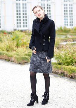 Wollrock mit Jerseybund grau-schwarz Paisleymuster