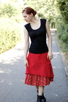Kordrock mit Baumwollrüsche Blumenmuster und Jerseybund rot