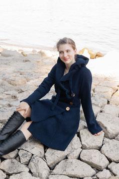 Mantel mit Kapuze gewalkte Wolle marine