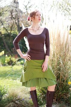 Kordrock mit Baumwollrüsche und Jerseybund grün