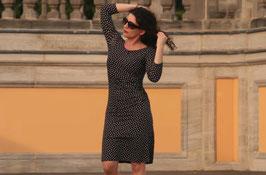 Jerseykleid Etuikleid Raffung braun gepunktet