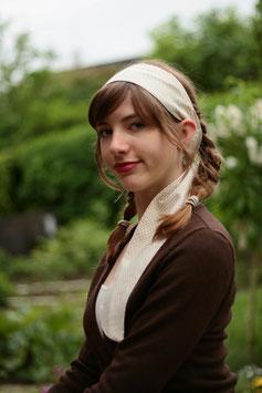 Haarband lang cremeweiß hellbraun gepunktet